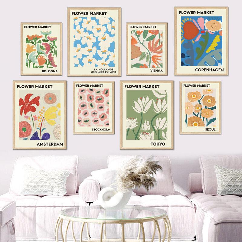 مجردة الملونة زهرة السوق Vintage الشمال الملصقات والمطبوعات الرسم على لوحات القماش الجدارية جدار صور لغرفة المعيشة ديكور