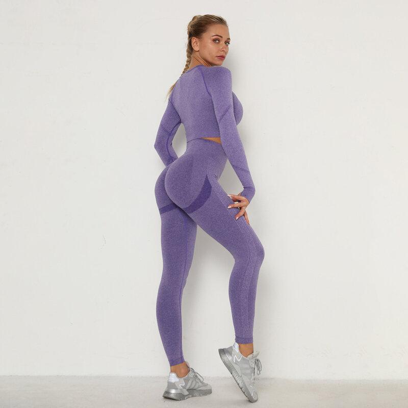 طقم رياضي ضيق للنساء طقم صدرية بفتحات تهوية وأكمام طويلة ملابس غير مخيطة خصر مرتفع بنطلون ضيق ملابس للصالة الرياضية بدلة رياضية