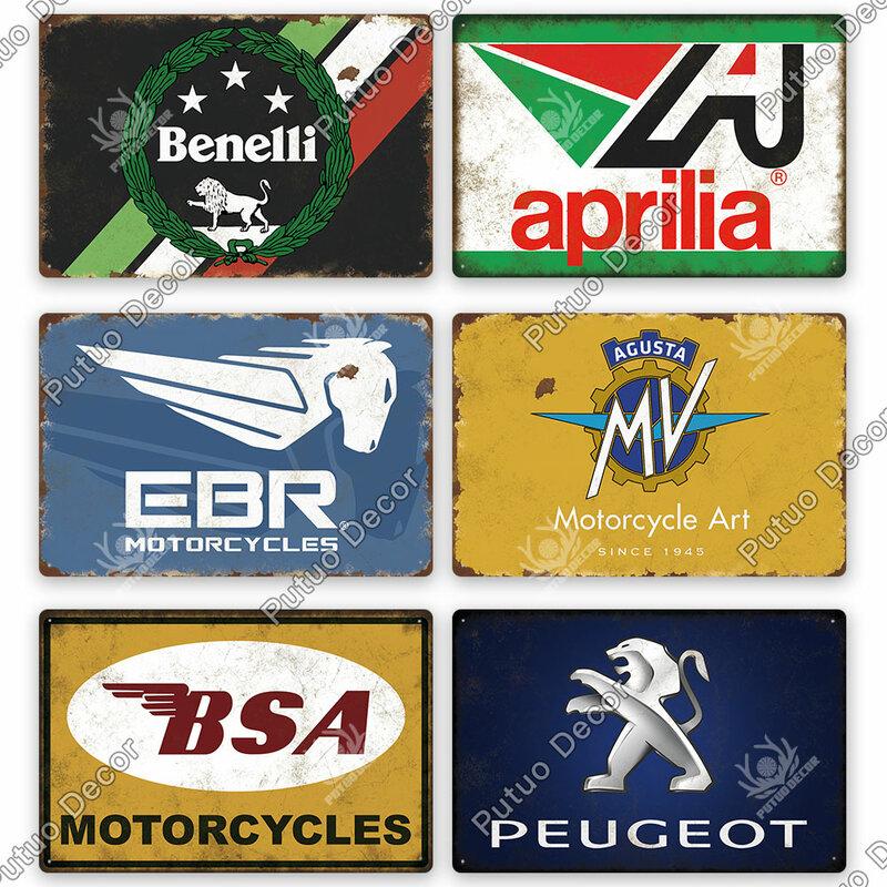 Putuo ديكور دراجة نارية العلامة التجارية خمر تين تسجيل المعادن تسجيل لوحة الزخرفية اللوحة جدار ديكور المرآب رجل كهف نادي الديكور