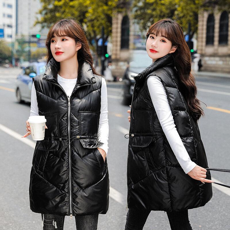 الأبيض بطة أسفل سترة سترة الإناث الخريف والشتاء 2021 النسخة الكورية كان رقيقة منتصف طول مشرق الوجه الوقوف طوق سترة