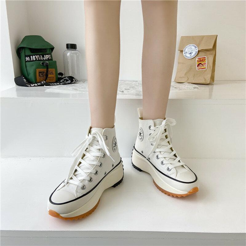 الربيع/الخريف النساء الأحذية قماش الدانتيل متابعة أحذية منصة سميكة امرأة أحذية رياضية كاجوال Zapatos Mujer حذاء امرأة