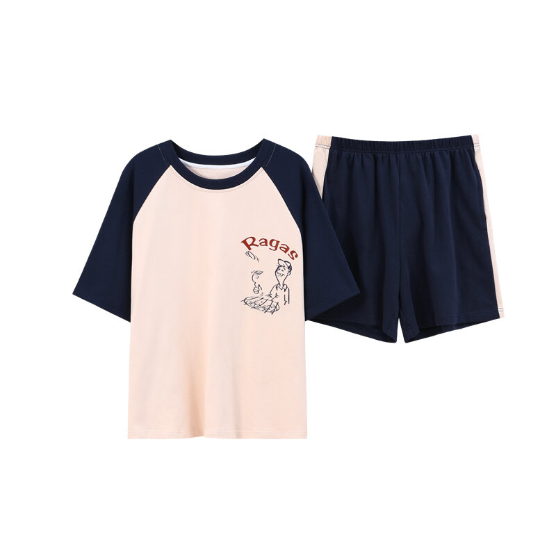 القطن السيدات بلون بسيط قصيرة الأكمام الجولة الرقبة السراويل الرجال الراحة Homewear اليابانية الصيف الكرتون زوجين منامة دعوى