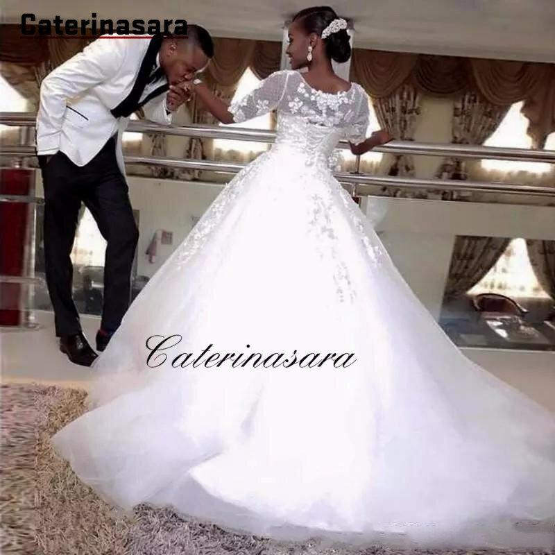 فستان زفاف أفريقي برباط علوي ، نصف كم ، وهم ، دانتيل ، منتفخ ، فساتين زفاف رسمية
