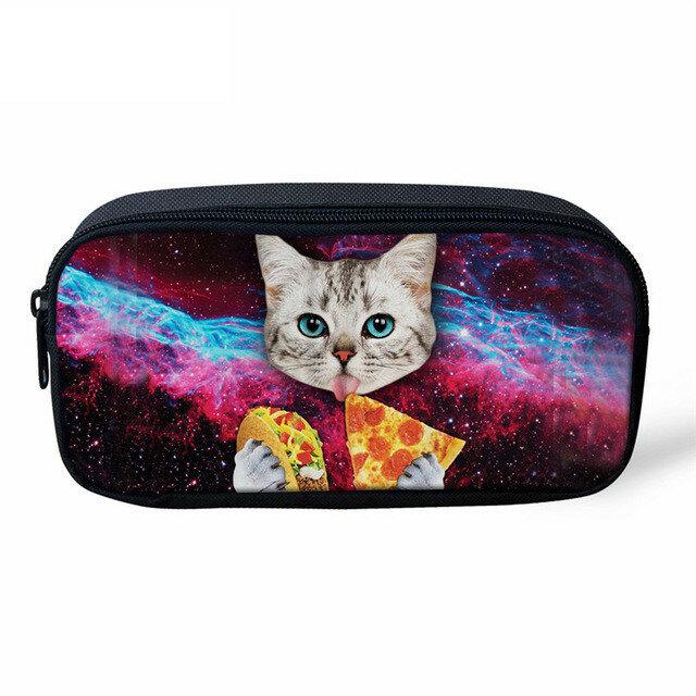 HaoYun-مقلمة للأطفال ، صندوق أقلام رصاص مع جينز ، نمط قطة ، صندوق أدوات مكتبية للطلاب ، صورة حيوانات ، حقيبة أقلام مدرسية للأطفال ، جمال للفتيات