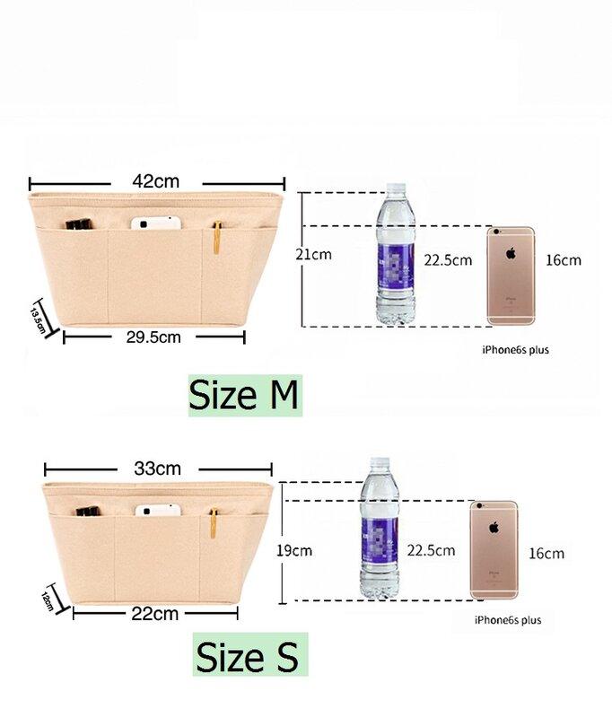 يناسب أبدا كامل MK MCM ورأى القماش ضوء إدراج مقسم حقيبة يشكلون حقيبة السفر الداخلية محفظة المحمولة الأم حقيبة مستحضرات التجميل