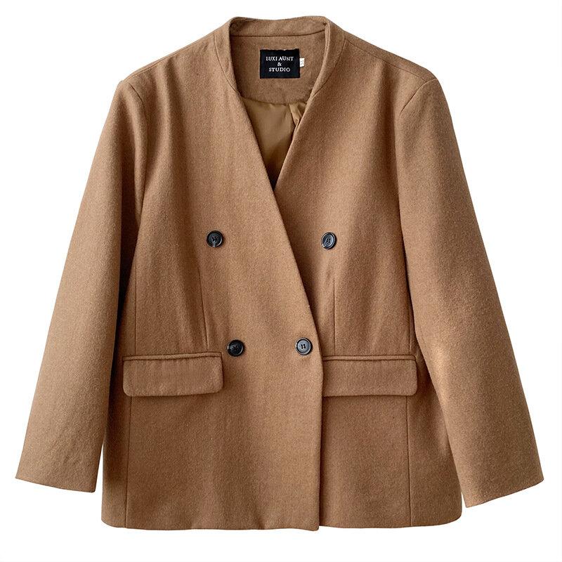 جديد لخريف 2021 معطف نسائي عالي الجودة معطف نسائي فضفاض بلون سادة عصري غير رسمي أنيق ملابس خارجية للسيدات T577