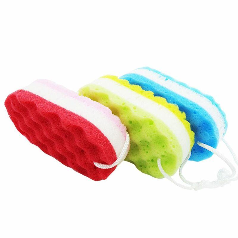 أداة غسيل دش مدلك حمام فرش ثلاثة طبقة موجة حمام الإسفنج الجلد نظيفة للكبار طفل بنين بنات تنظيف فرشاة اغتسال