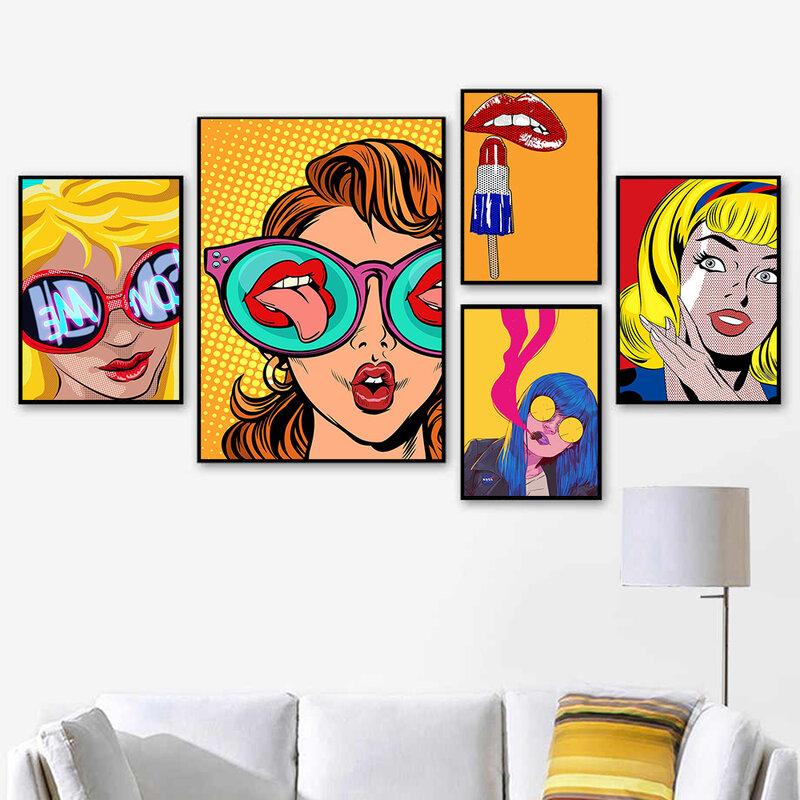 ملصق ملون جذاب للبنات للشفاه فن الطباعة الجدارية لوحات قماشية لأحمر الشفاه مجردة الشمال لغرفة المعيشة ديكور المنزل
