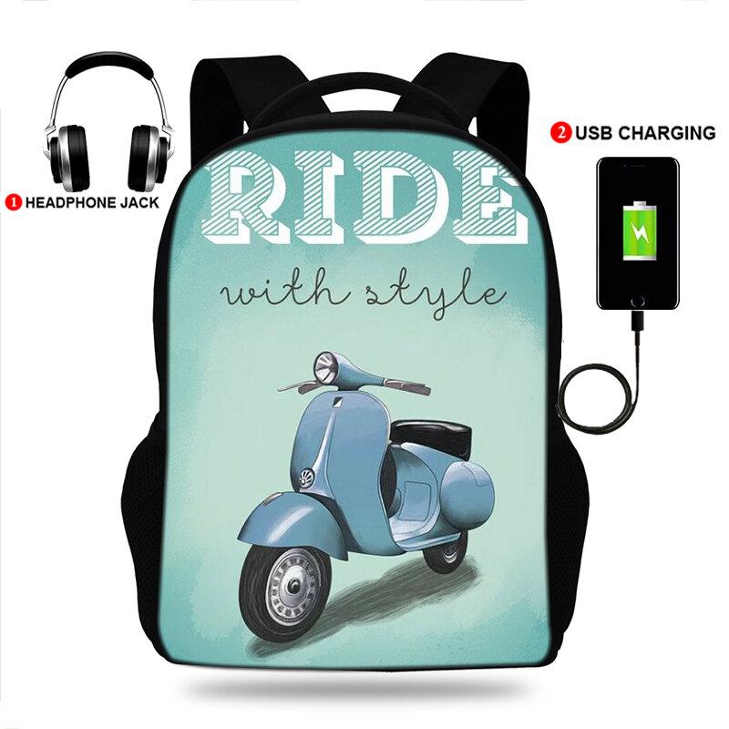 حقيبة ظهر 17 بوصة للمراهقين ، حقائب مدرسية للبنات والأولاد ، حقيبة كتب ، دراجة نارية للأطفال ، Mochila Escolar