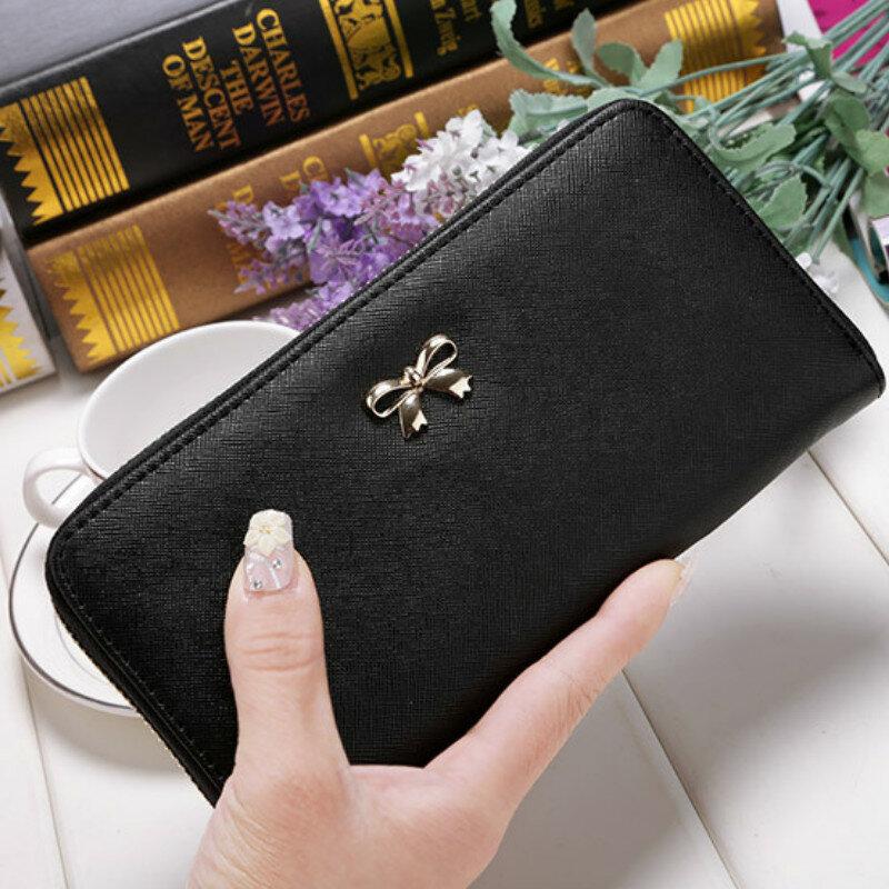 بطاقات محفظة بحامل بطاقات السيدات لطيف Bowknot النساء محفظة طويلة لون نقي حقيبة صغيرة 2020 جديد بولي محفظة محفظة جلدية حامل بطاقات هاتف حقيبة