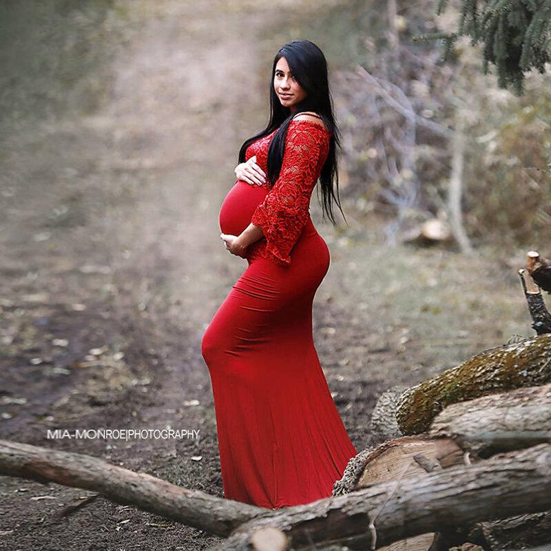 الصيف الحمل اطلاق النار فستان الأمومة الدانتيل Grossesse Vestidos للصور تبادل لاطلاق النار كشكش الشاش أنيقة ومثيرة ثوب طويل