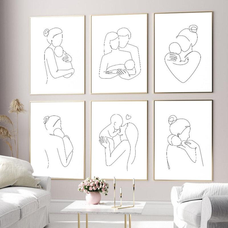مجردة خط الأب الأم الأم الحب الرسم على لوحات القماش الجدارية الشمال الملصقات و يطبع جدار صور لغرفة الطفل ديكور