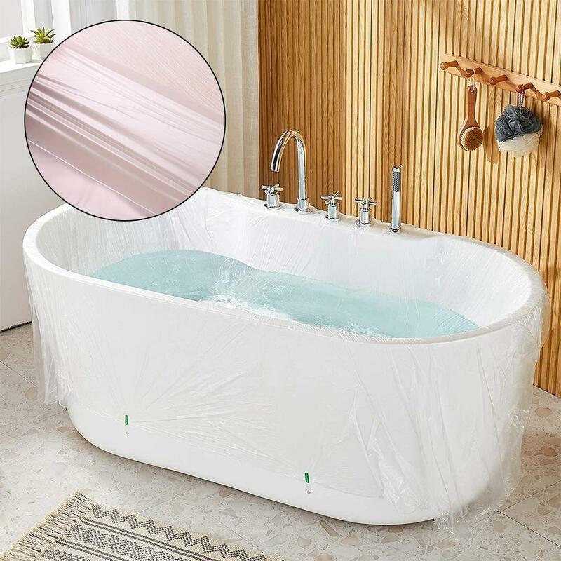 10 قطعة غطاء حوض الاستحمام القابل للتصرف شفافة حقيبة حمام الأسرة المنزلية فيلم فندق حوض ديكور حقيبة R0a4