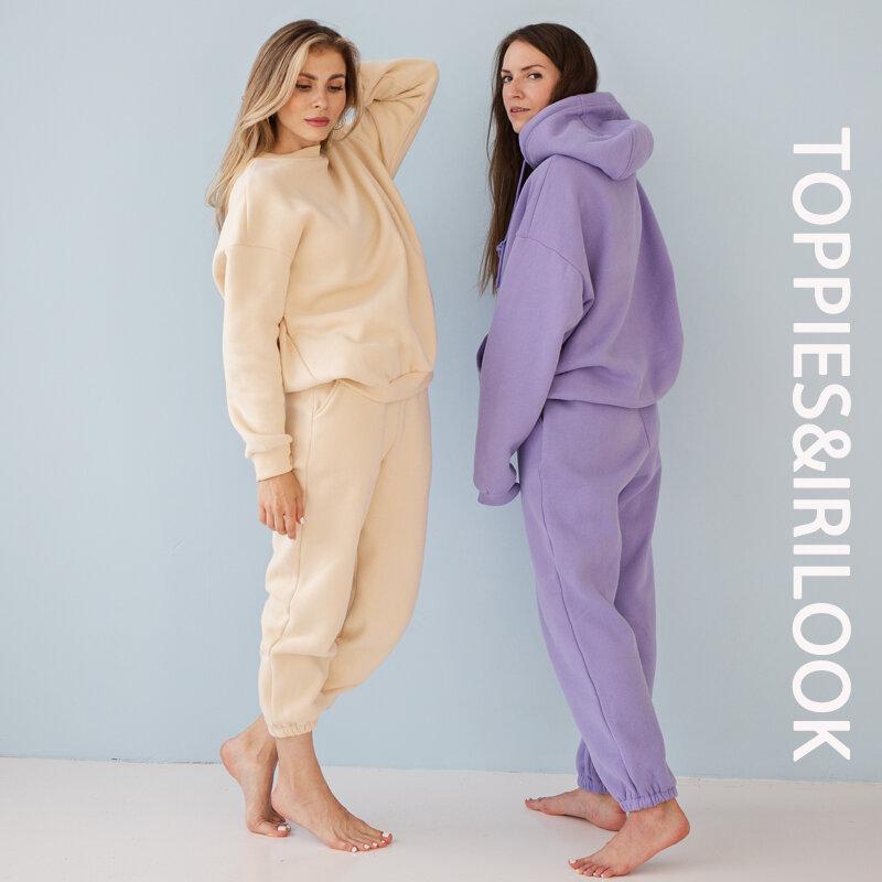 Toppies ملابس رياضية نسائية قمصان سويت شيرت بقلنسوة 2021 خريف شتاء كنزة صوفية كبيرة الحجم سترات بلوفر سادة للجنسين