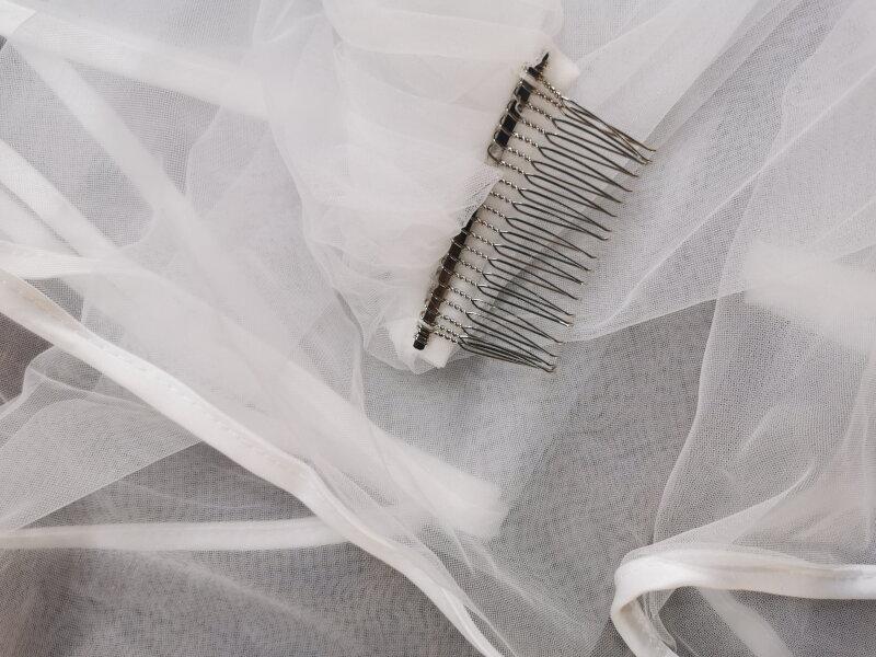 V071-80 طبقة مزدوجة بسيطة شريط من الساتان حافة الحجاب الزفاف خوذة اكسسوارات الزفاف