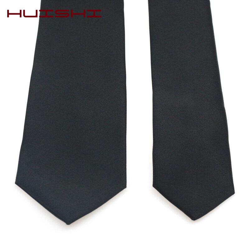 HUISHI-ربطة عنق للرجال ، أسود ، مقاوم للماء ، رقبة ، أعمال ، زفاف ، فستان رجالي ، هدية ، مخطط ، فحص ، عادي ، جاكار ، منسوج ، رقبة