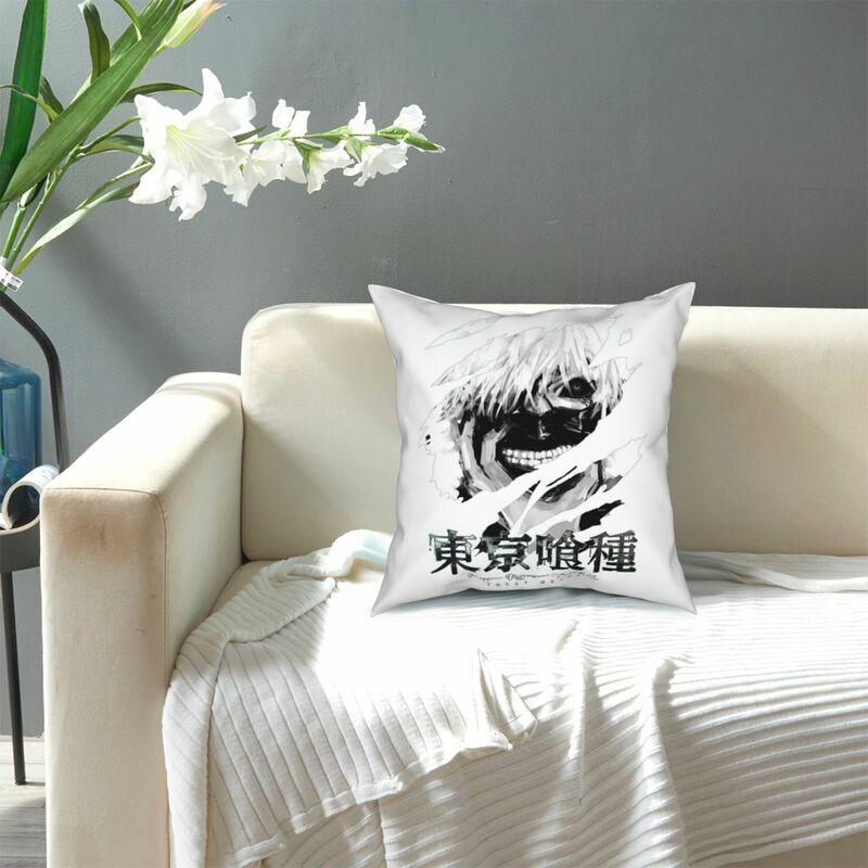 طوكيو الغول اليابان أنيمي كيس وسادة Kaneki كين مانغا الكرتون أسود أبيض غطاء الوسادة المخدة الزخرفية للسرير 18'