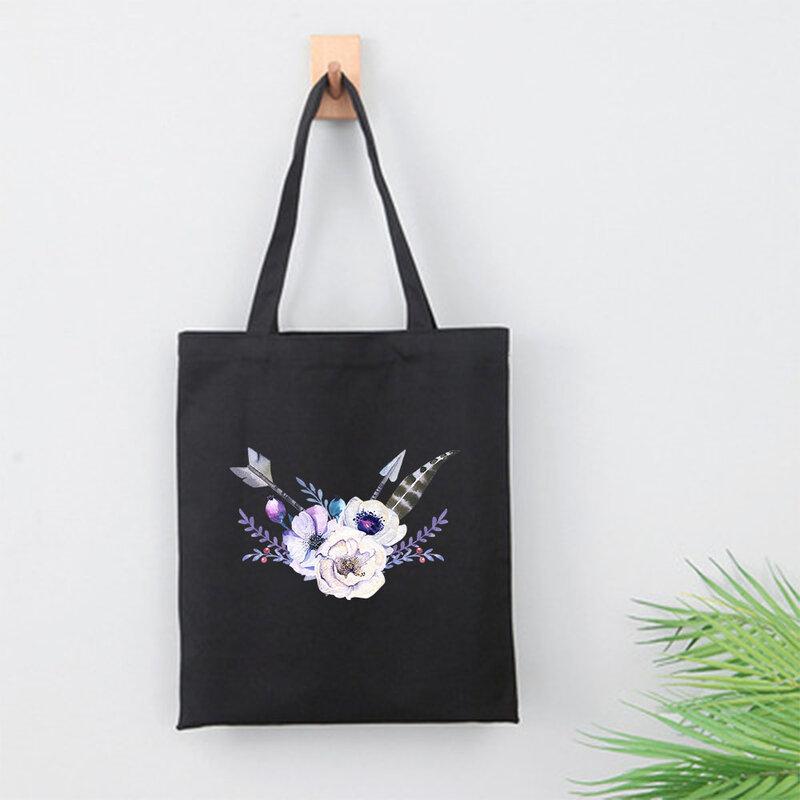 قماش السفر جراب التسوق بوهيميا الإناث حقائب بوهو الهندي غطاء الرأس النساء أنيمي المتسوق تخزين طباعة حقيبة كتف