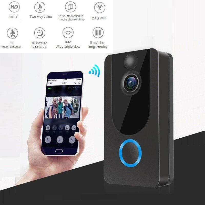 جرس باب ذكي IP WIFI 1080P ، اتصال داخلي بالفيديو ، لاسلكي ، مع كاميرا لباب الشقة ، جرس ، إنذار ، كاميرا أمان بالأشعة تحت الحمراء