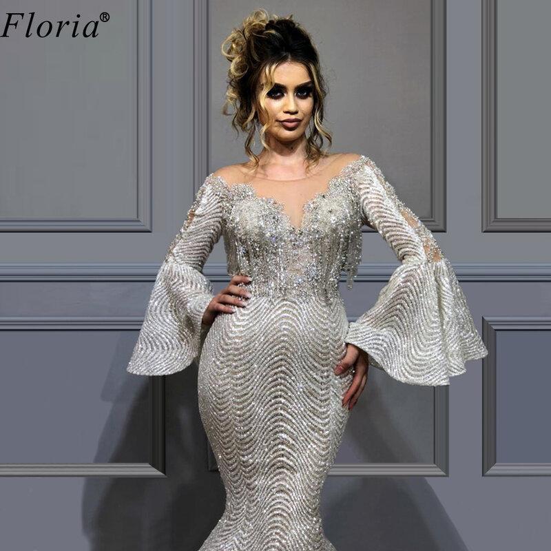 فستان سهرة فاخر ، أكمام طويلة ، نمط دبي ، سجادة حمراء ، فستان حفلة ، مقاس كبير ، 2020
