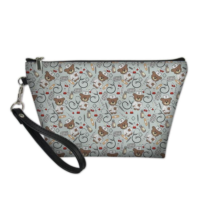 HaoYun-حقيبة مستحضرات التجميل النسائية ، مجموعة أدوات الزينة ، حقيبة سفر جلدية ، طباعة حيوانات كرتونية ، عصرية