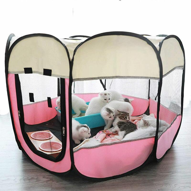 المحمولة للطي خيمة الحيوانات الأليفة بيت الكلب مثمنة قفص ل القط خيمة روضة جرو بيت عملية سهلة سياج في الهواء الطلق كبير الكلاب البيت