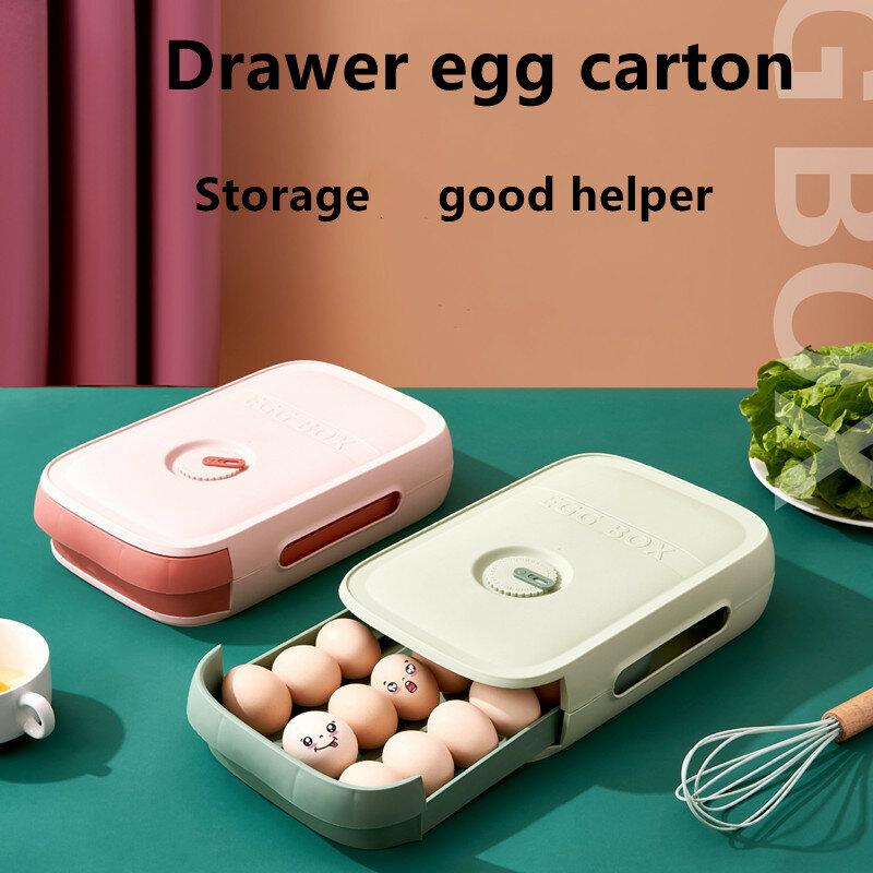 حاويات تخزين من البلاستيك درج منظم صندوق بلاستيكي مع غطاء تخزين البيض الثلاجة منظم مطبخ درج البيض