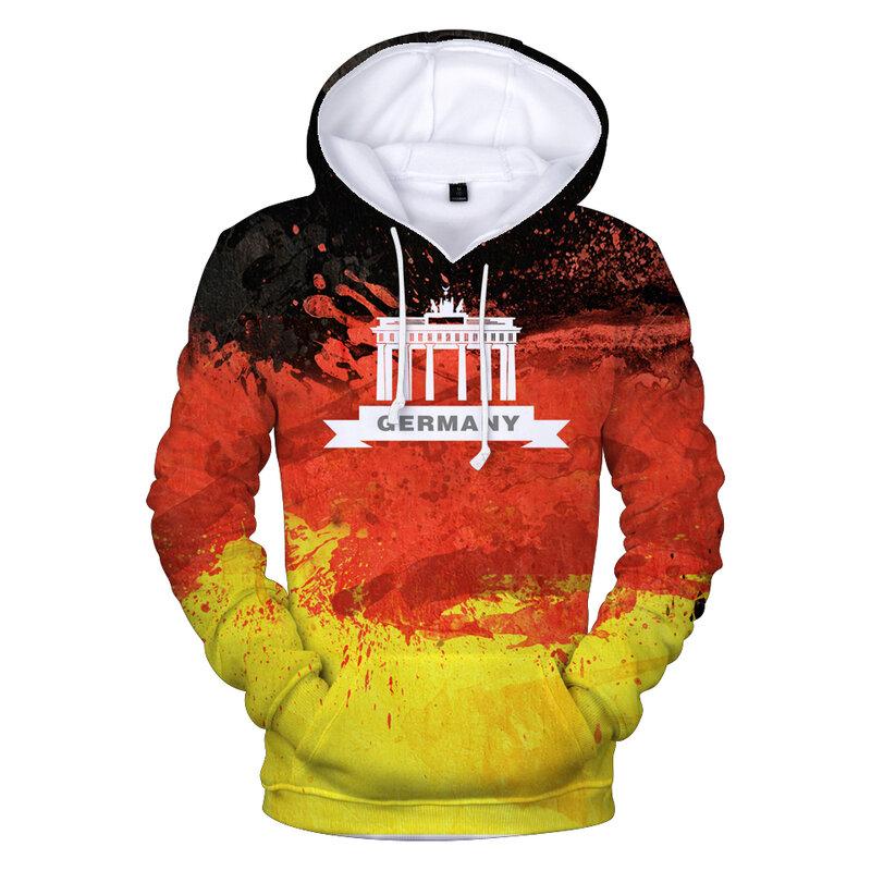 ألمانيا العلم الوطني ثلاثية الأبعاد هوديس الرجال/النساء الموضة عالية الجودة ثلاثية الأبعاد طباعة ألمانيا العلم الوطني هوديس الرجال عادية