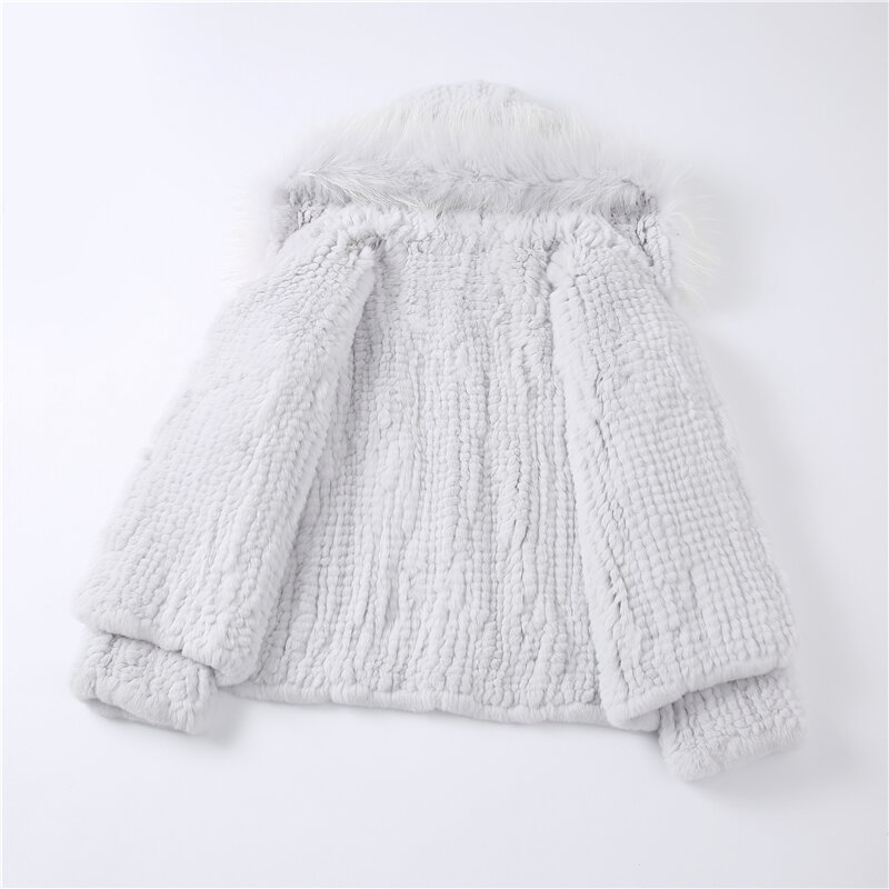 Aorice المرأة ريال الأرنب معطف الفرو سترة جديد أنثى محبوك عادية الراكون هود معاطف جاكيتات سترة CT124