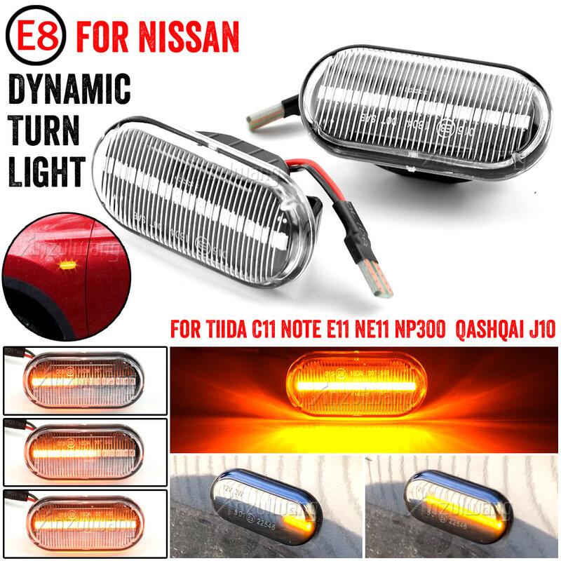 ديناميكية الجانب ماركر مصباح إشارة الانعطاف LED لنيسان تيدا C11 ملاحظة E11 NE11 ميكروا K12 NP300 نافارا D40 قاشقاي J10 باثفيندر