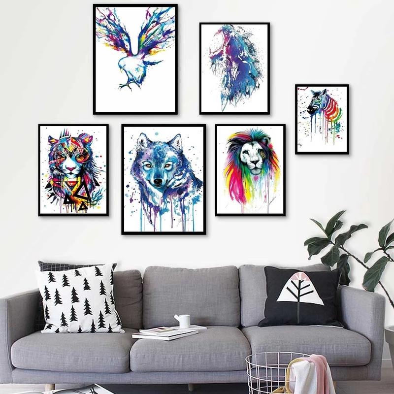 ملون الحيوان النفط اللوحة مجردة المائية الحيوان قماش الفن غرفة المعيشة ديكور المنزل جدارية غرفة المعيشة الديكور