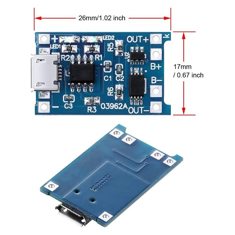 6 قطعة TP4056 شحن وحدة مع حماية البطارية 18650 BMS 5 فولت مايكرو USB 1A تهمة مجلس ل 18650