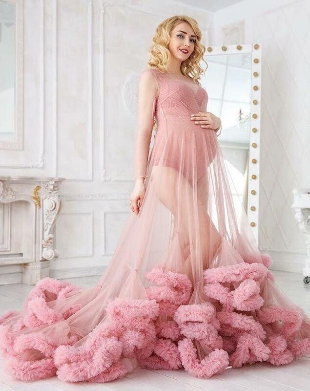 مقاس كبير فساتين المشاهير من التل 2021 للنساء الحوامل سترات النوم مع الكشكشة الأمومة التقاط الصور