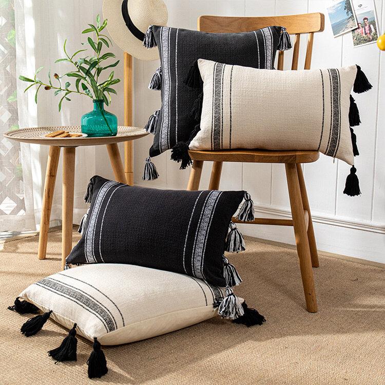 الصلبة مع شرابة وسادة غطاء أريكة القطن قماش معنقدة التطريز رمي غطاء الوسادة غرفة المعيشة الديكور المخدة 40725