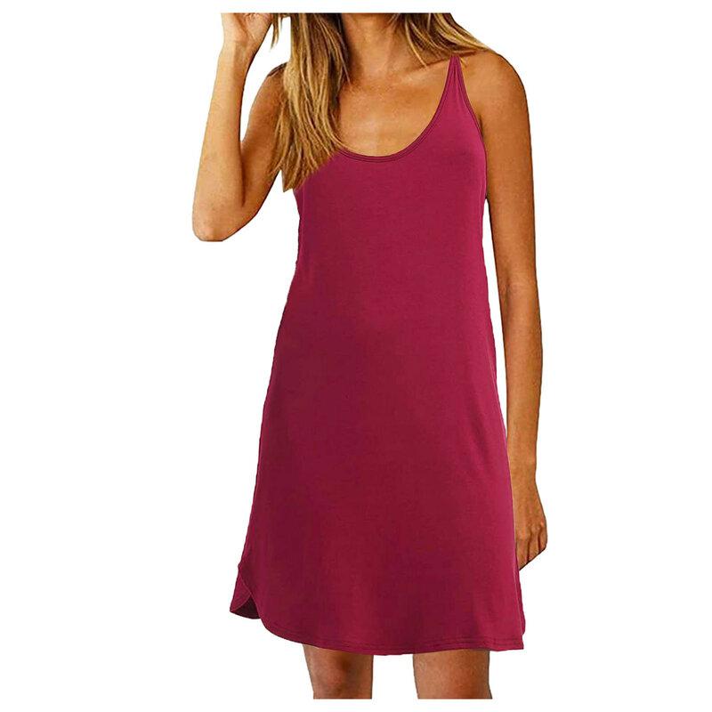 40 # الصيف السباغيتي حزام المرأة فستان مثير بلون فستان Vintage المتضخم فساتين بلا أكمام للنساء 2021 Vestidos