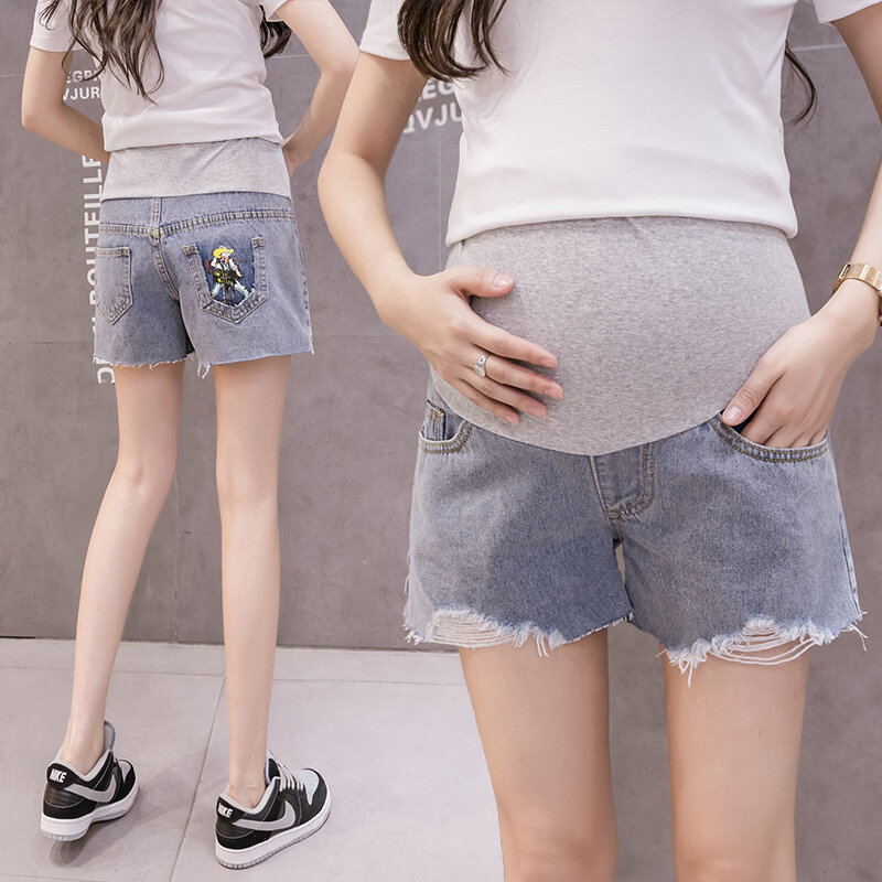 1138 # Summer الدنيم الأمومة جينس قصير مرونة الخصر البطن السراويل الملابس للنساء الحوامل عادية ممزق هول شيك الحمل