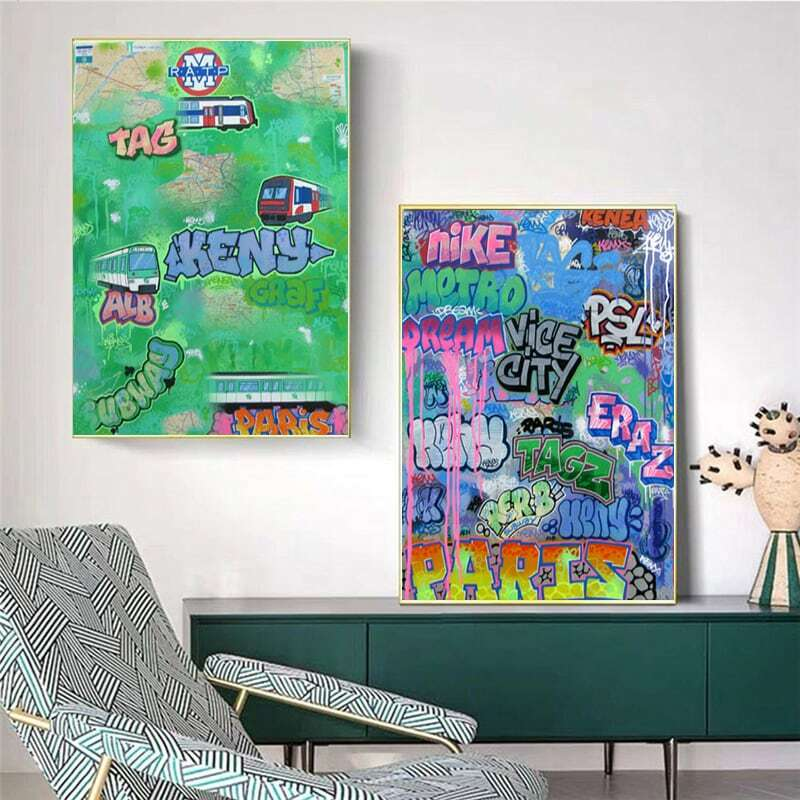 الأبجدية اللوحة الكتابة على الجدران الملونة شخصية مجردة جدار معلق اللوحة قماش غرفة الديكور (تخصيص)