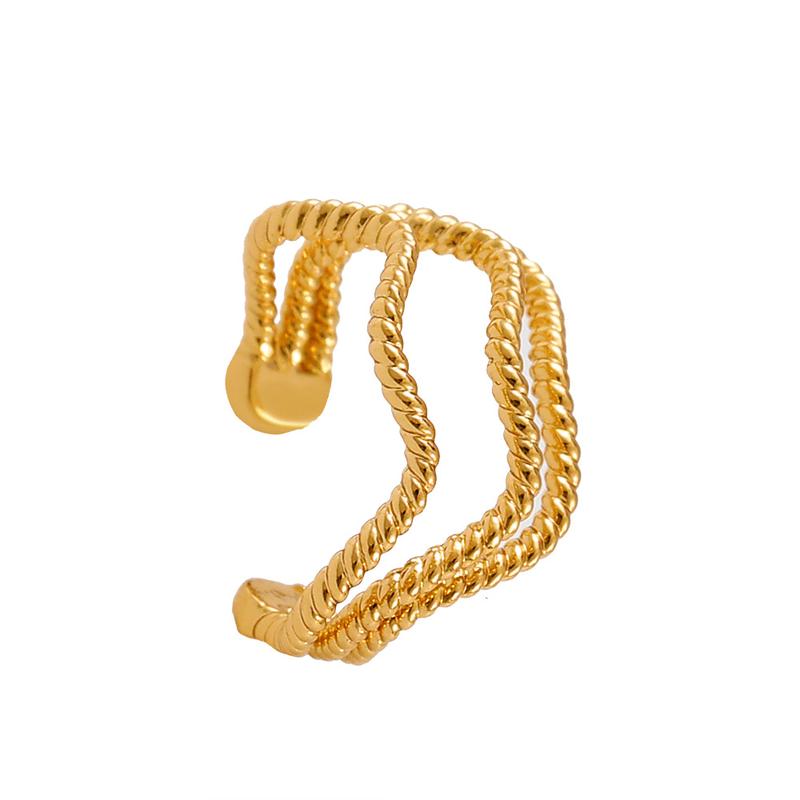 موضة الذهب اللون Cc أقراط للنساء بسيطة هندسية تويست موجة كليب على القرط وهمية ثقب الأذن Cuffs الكورية مجوهرات هدية