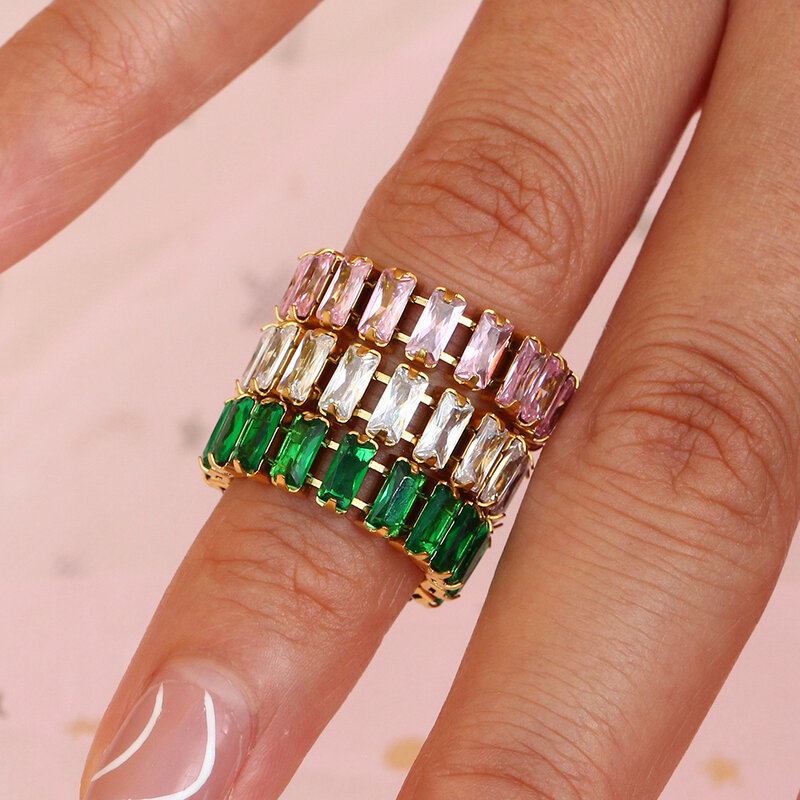 2021 جديد الزركون حجر تنس سلسلة حلقية للنساء مجوهرات عيد الميلاد الفاخرة الأخضر الوردي الأبيض المرأة خاتم كريستال حفلة