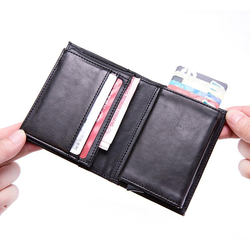 حامل بطاقات رجالي ، حامل بطاقات مع نافذة منبثقة أوتوماتيكية ، معدن RFID ، 2019
