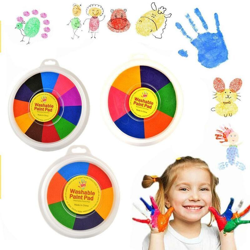 ألوان إنكباد متعدد الألوان رياض الأطفال فنجر اللوحة إنكباد الأطفال إنكباد كتيب لون الحبر لوحة كبيرة 12-Color Q3Q9