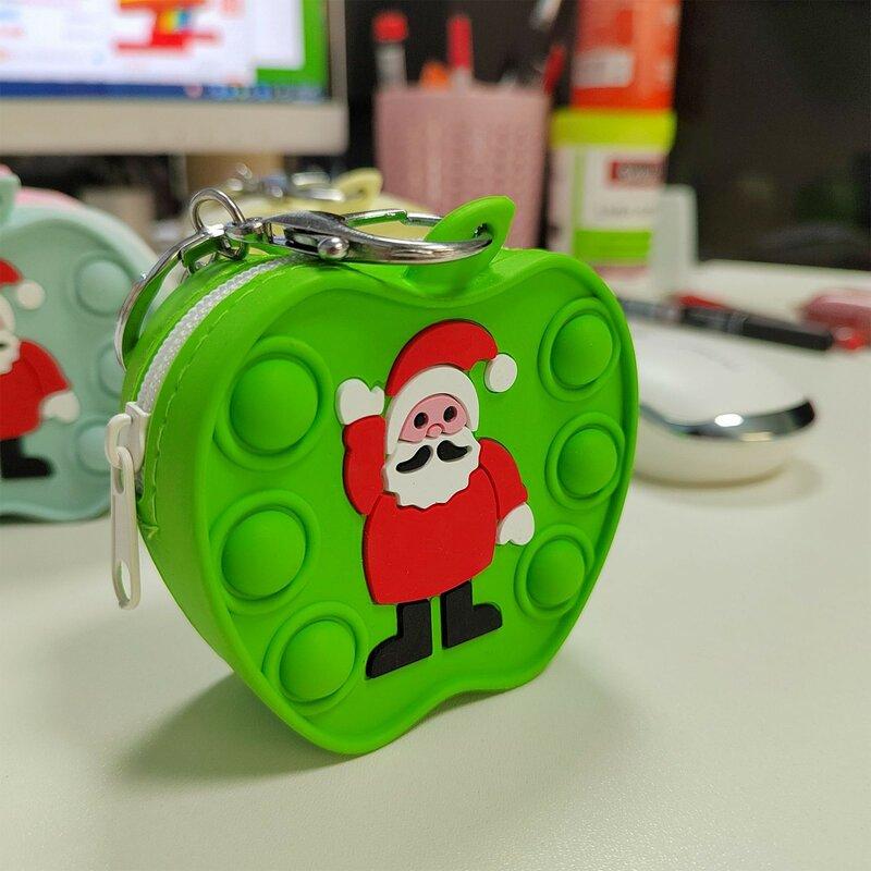 لطيف جديد وصول محفظة نسائية للعملات المعدنية ألعاب متململة أكياس عيد الميلاد سيليكون الحسية الضغط لغز الضغط على ظهره