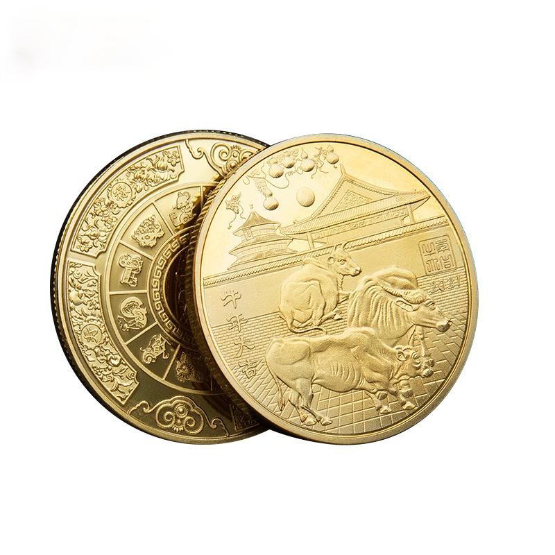 سنة الثور الميمون محظوظ شارة تنقش الملمس عثرة الذهب والفضة مطلي عملة 2021 عملة تذكارية جديدة
