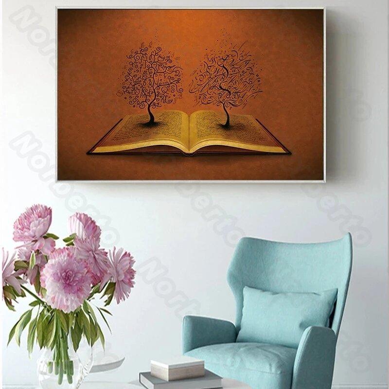 قماش اللوحة المشارك طباعة Vintage لا تزال الحياة صور كتب النباتات كامل القمر السماء الزرقاء للمنزل غرف معرض الجدار الديكور