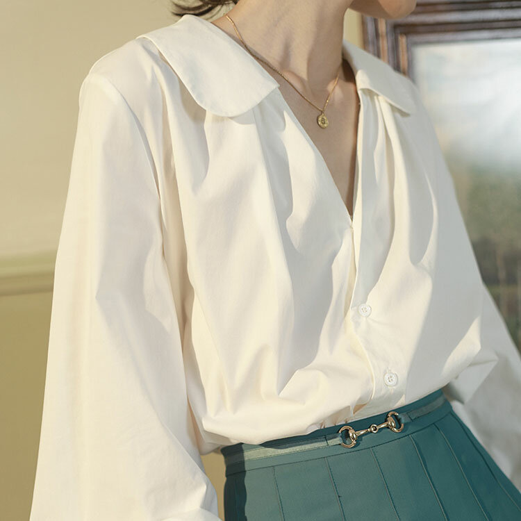 قميص المرأة تصميم الشعور المتخصصة الربيع والخريف 2021 جديد الرجعية طويلة الأكمام قميص سيدة مزاجه الشيفون