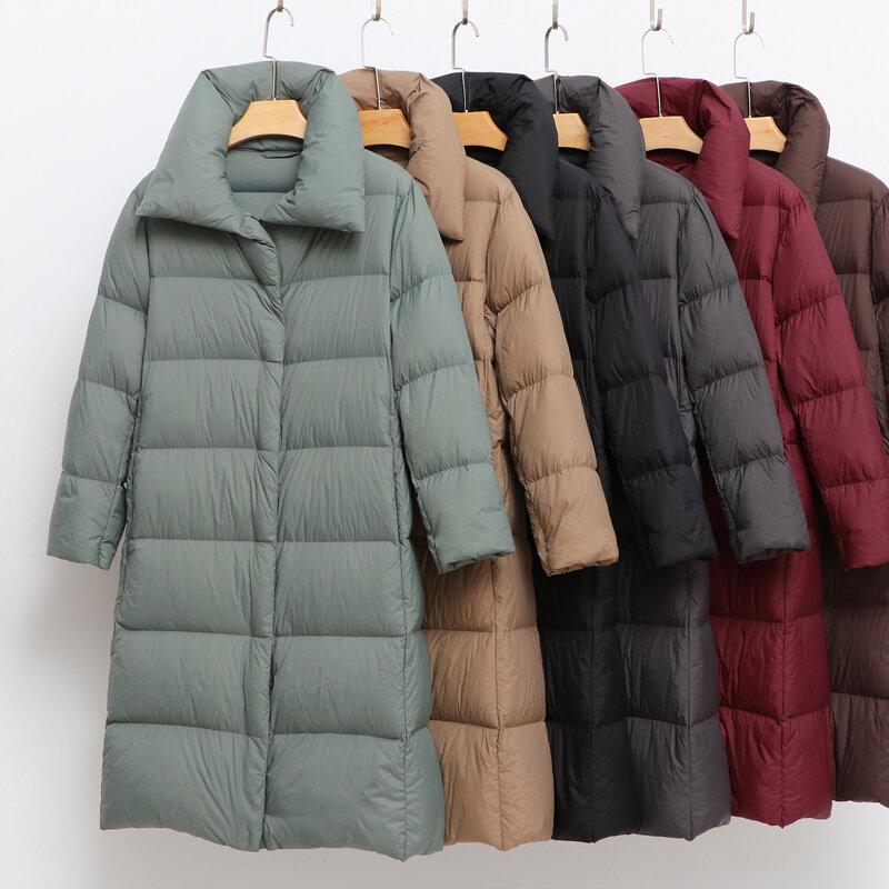 2021 جديد معطف الشتاء المرأة أسفل مبطن الدافئة سميكة طويلة سترة منفوخة سترات عادية المرأة الترا ضوء معطف الإناث الملابس