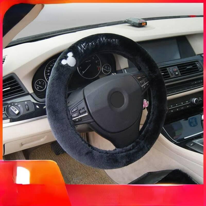 ديزني ميكي ماوس ميكي عجلة توجيه سيارة غطاء الشتاء أفخم سيارة مع عدم الانزلاق المقود غطاء لطيف الكرتون غطاء الزخرفية