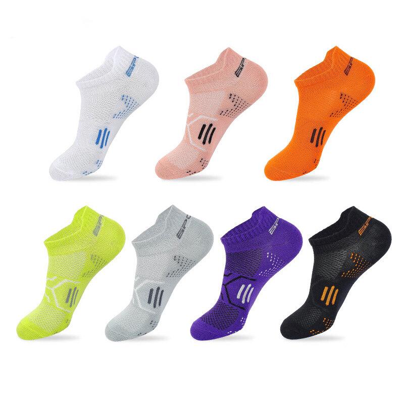 جوارب رياضية للكاحل للصيف للرجال من القطن بلون زاهي قابلة للتنفس ومزيل العرق وجوارب غير مرئية للسفر في الهواء الطلق