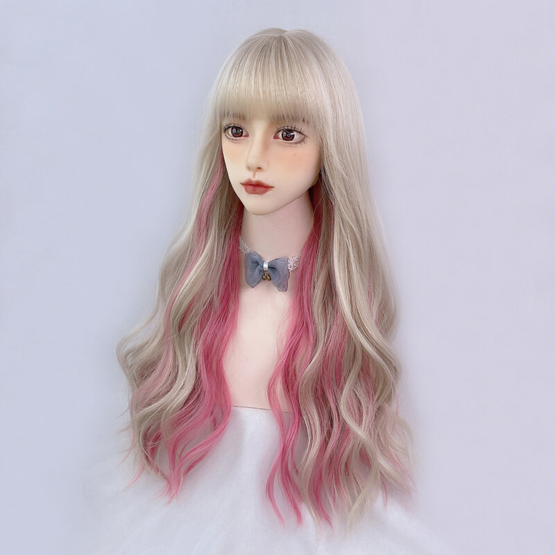 متدرج شقراء الوردي لوليتا الباروكة Harajuku الجنية تأثيري الشعر طويل مجعد متموج الانفجارات الحلو الكبار Youtuber الفتيات الشعر