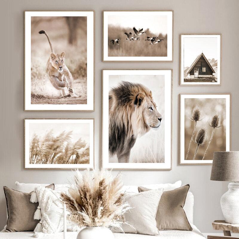 العشب القصب الهندباء الأسد الفهد المائية الرسم على لوحات القماش الجدارية الملصقات والمطبوعات جدار صور لغرفة المعيشة ديكور
